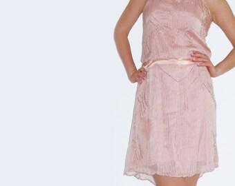 Beaded Flapper Dress, Powder Pink sequin dress, pink beaded cocktail dress, Great Gatsby Flapper dress, 20s dress, downtown abbey dress