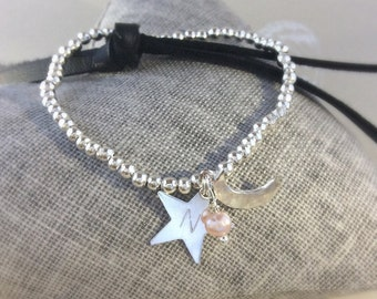 Personalised bracelet, star bracelet moon and stars,  love bracelet, , 'Love you to the Moon & Stars',  pearl bracelet