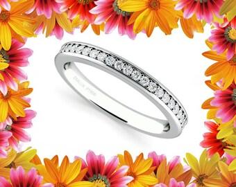 Women's 950 Platinum Diamond Wedding Band Ring 0.30 Carats G / VS2 Pave Set Half Eternity Anniversary band
