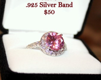 Pink and White Topaz .925 Silver Band Size 9