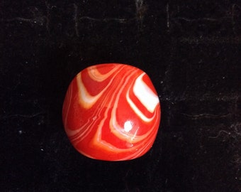 Red an White Swirl Glass Ring size 6.5