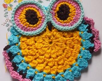 Crochet owl pattern, Owl Coaster crochet pattern , crochet owl coaster, crochet owl, crochet coaster