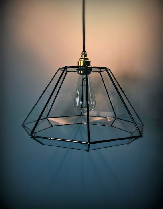 Geometric pendant lamp glass facets edison bulb lampshade for Grosse suspension luminaire