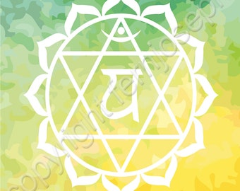 Blank Greeting Card. Greetings Card. Chakras. Anahata Chakra. Heart Chakra. Spiritual Greeting Card For Any Occasion