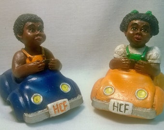 "Handpainted ""Boy and Girl in Cars"" Sets"