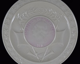 Vintage Irish BELLEEK GEORGE WASHINGTON Plate 1776 Declaration of Independence plate