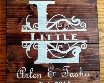 Established Personalized Wood Sign with Split Monogram