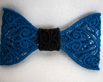 Black and Blue lace hair bow