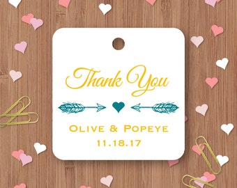 Wedding Favor Tags - Thank You Wedding Tags - Die-cut Paper Hang Tags, Custom Gift Tags - Set of 25 - wedding decoration