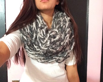 Gray and light pink Infinity Scarf