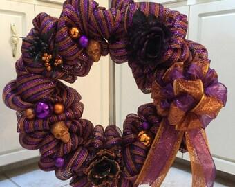 Purple, Orange, & Black Halloween Wreath