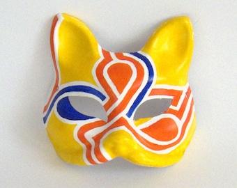 Orange Teardrop Fox Mask