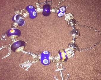"Royal blue and silver charm bracelet 8"""