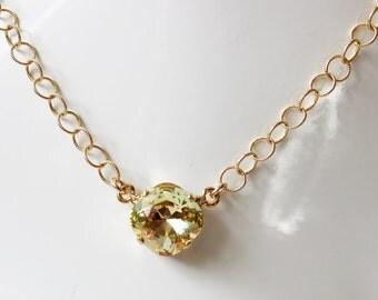 Swarovski lemon crystal necklace on gold filled chain