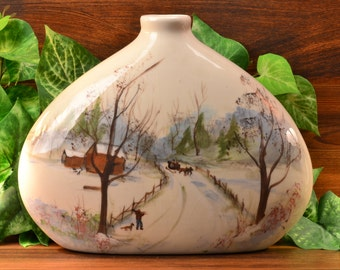 Wisecarver Pottery Winter Scene Teardrop Vase
