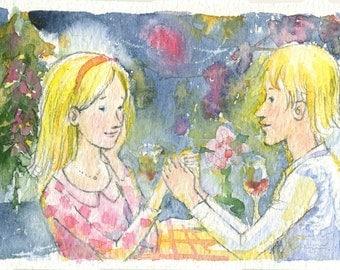chrismas dinner ,watercolor painting,handmade