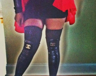 Faux leather leg warmers