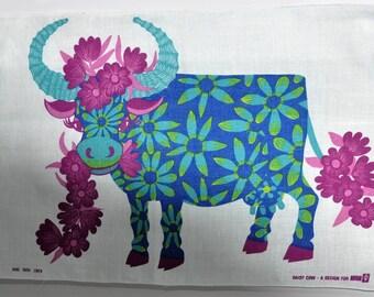 Vintage Irish Linen Tea Towel Daisy the Cow designed for Oxfam 1970S