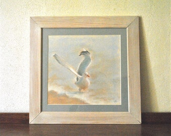 Painting of a Breton Seagull performed at the pastels and framed.