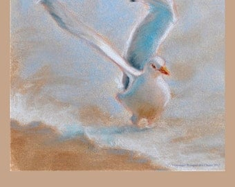 Poster of a gull from a pastel.