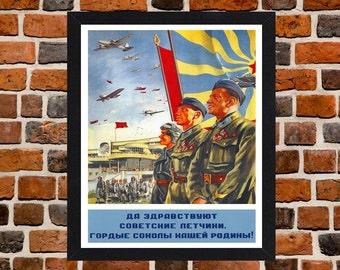 Framed Soviet Airforce USSR Communist Propaganda Poster A3 Size Mounted In Black Or White Frame