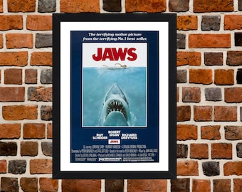 Framed Jaws Movie / Film Poster A3 Size Mounted In Black Or White Frame