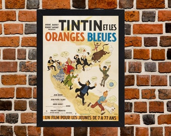 Framed Tintin And The Blue Orange French Cartoon Movie / Film Poster A3 Size Mounted In Black Or White Frame