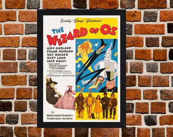 Framed The Wizard Of Oz Judy Garland Movie / Film Poster A3 Size Mounted In Black Or White Frame