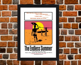 Framed The Endless Summer Surfing Movie / Film Poster A3 Size Mounted In Black Or White Frame