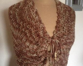 light braun  Shawl hand-knitted ref 157