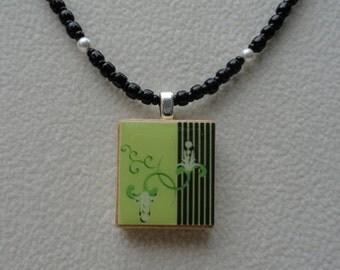 scrabble tile necklace, scrabble tile pendant, beaded necklace with scrabble tile