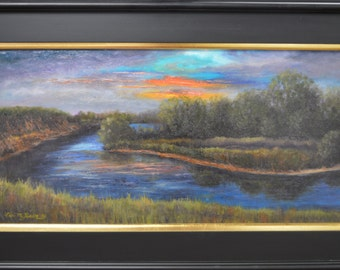Sunset At The Big Eddie Fine Art original Framed Oil Painting