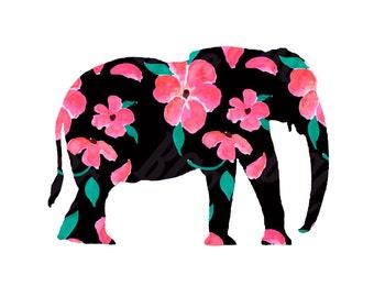 Pink Petal Elephant Watercolor Print