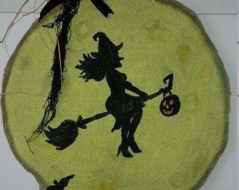 Halloween Moon Burlap Door Hanger