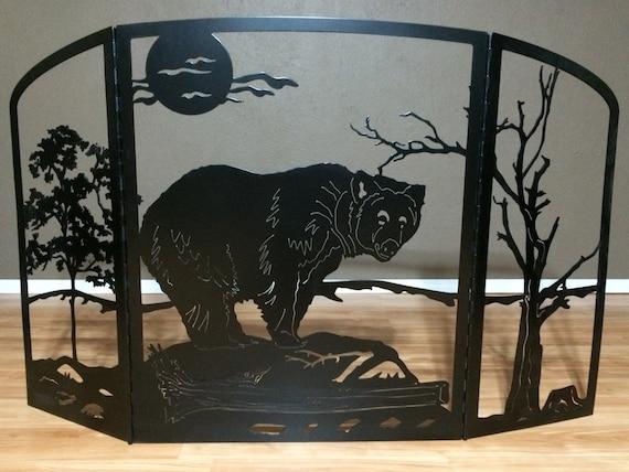 Fireplace Screen Metal Art Plasma Cut Bear Silhouette Home