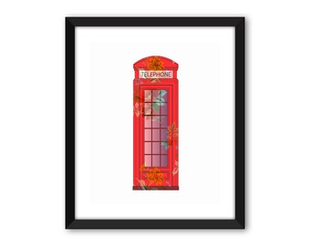 British red telephone box,  nursery print, birthday gift, wall print, UK print