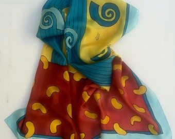 Hand Painted Silk Scarf,Blue Spirals Silk Scarf