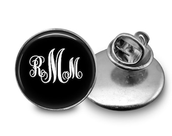 Monogrammed personalized initials Glass Tie Tack 16mm Tie Pin Lapel pin