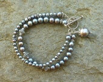 Freshwater pearl bracelet, double strand bracelet, silver grey freshwater pearl bracelet, Bali sterling silver bracelet, beaded bracelet