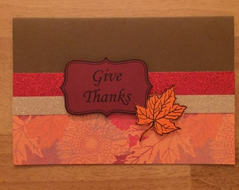 Greeting Card/invitation/Fall/Thanksgiving/fall colors/give thanks/handmade/customize