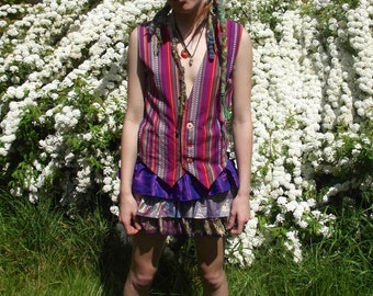 Colourful hippie vest- Small