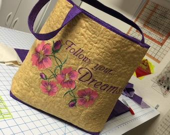 Quilted and Embroidered Tote Bag