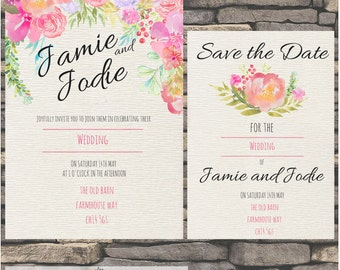 Rustic Save-the-Date and Wedding Stationary - RSVP and Thank you card included  - Watercolour design printable and personalised