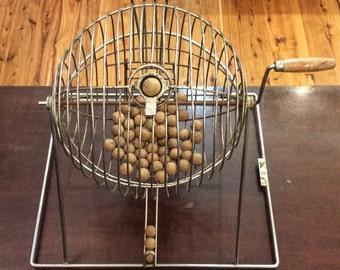 Vintage Mid Century Bingo Barrel with Original Wooden Balls