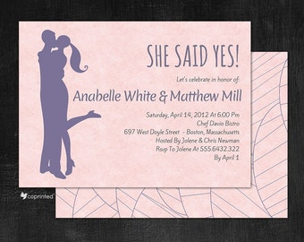 Yes I do! Engagement Party Invitations - modern, embrace, approval, yes, i do, she, engagement, hug, party, template