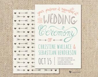 Handmade Poster Wedding Invitation - modern, drawn, handmade, poster, painting, calligraphy, typography, template, artistic