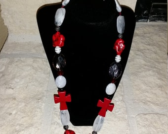 Red and Black Handmade Necklace and Earring Set