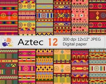 Aztec Digital Paper Set, Ethnic Tribal Digital Papers, Bright Geometric Scrapbook Papers, Instant Digital Download