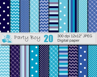 SALE 50% Party Boy Geometric Digital Paper Set, Blue Digital Papers, Boy Digital Papers, Instant Digital Download
