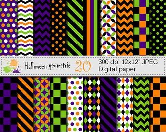 Halloween Geometric Digital Paper Set, Digital papers, Scrapbook papers, Orange, Purple, Black, Green Digital Papers